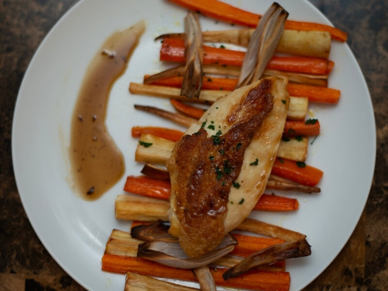 Maple Glazed Chicken with Roasted Root Vegetables