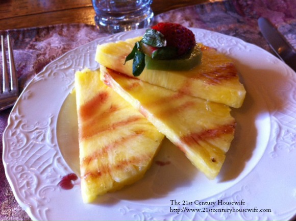 Pineapple with Red Wine Reduction