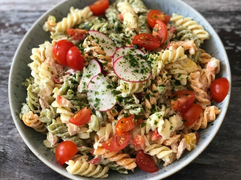 Crunchy veggies, canned tuna and pasta combine in this easy Tuna Pasta Salad recipe. It's perfect for summer barbecues, or pot luck dinners all year round.