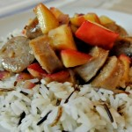 Warm Wild Rice Salad with Sausages and Apples