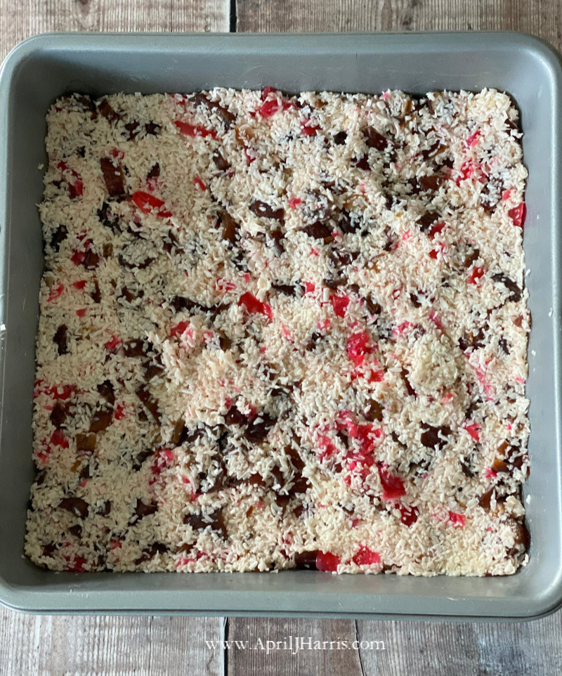 Cherry Date and Coconut Christmas Squares