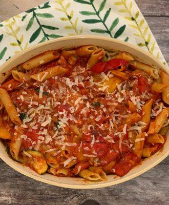 Roast Vegetable Pasta Bake is so tasty the kids won't notice it's healthy! Whole wheat pasta & roast vegetables make this a pasta bake with a difference.