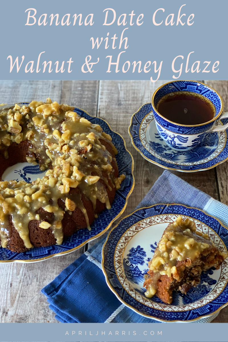 Banana Date Cake with a Walnut and Honey Glaze being served