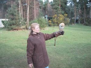 April holding Screech Owl