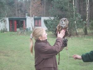 April stroking Eagle Owl