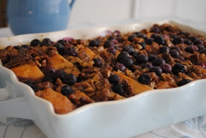 Blueberry Bread and Butter Pudding / French Toast Casserole