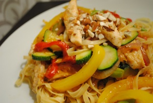Leftover Turkey and Almond Stir Fry