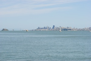 The view of Alcatraz and the San Francisco Skyline from Sausalito
