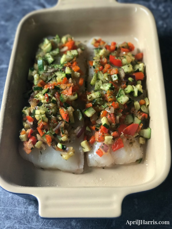 Baked Cod with A Sauteed Veggie Topping - an easy to make dish that's bursting with fresh flavours