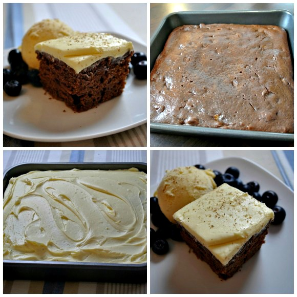 Chocolate Banana Snack Cake collage