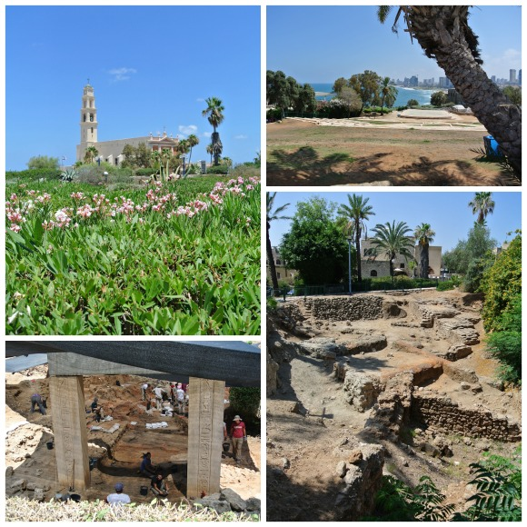 From top left, clockwise - The Gardens at Jaffa, view of Tel Aviv, Lion Temple, Egyptian Fortress Excavations