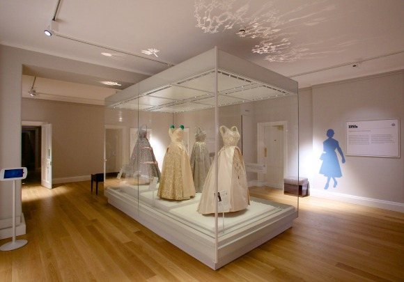 Evening Gowns worn by HM The Queen  Photograph courtesy of Historic Royal Palaces