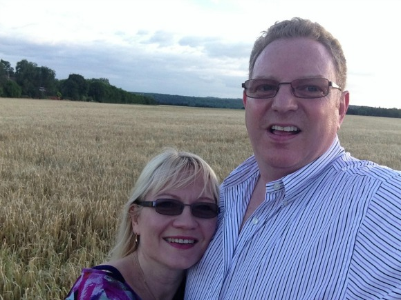 My husband and I enjoying an evening walk in the fields  just up the road from our home.