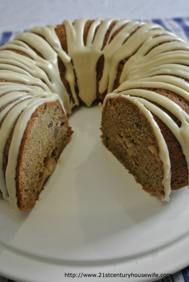 Apple and Pecan Cake Sliced