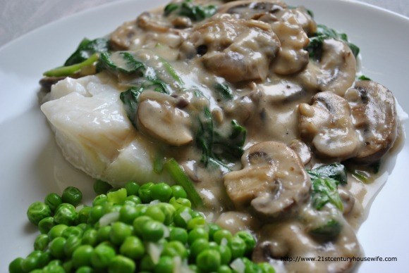Cod with Mushroom and Spinach Sauce