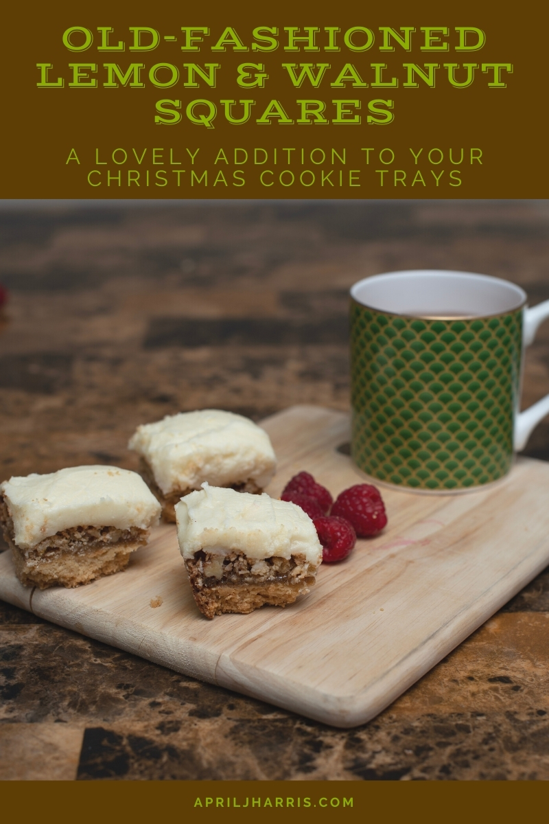 These easy to make Lemon and Walnut squares have a sweet, nutty filling that contrasts deliciously with the refreshing lemon icing on top.