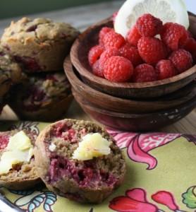 Lemon Raspberry Muffins from Tessa the Domestic Diva
