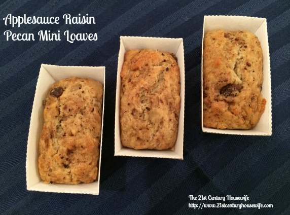 Applesauce Raisin Pecan Muffins or Mini Loaves