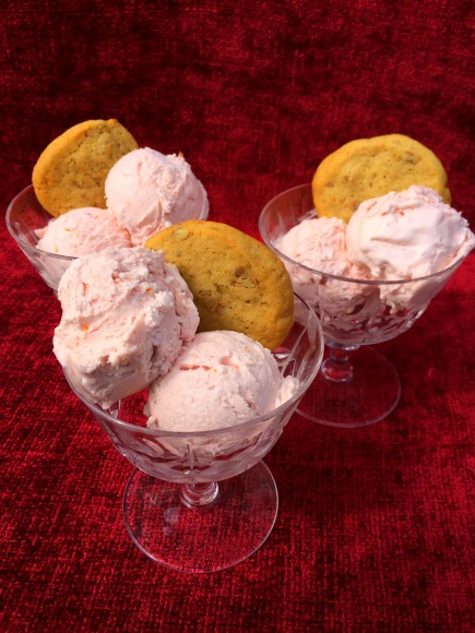 Blood Orange No Churn Ice Cream with Orange Pecan Cookies