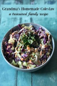 Grandma's Homemade Coleslaw is an easy family recipe, chock full of healthy veggies in a creamy dressing.