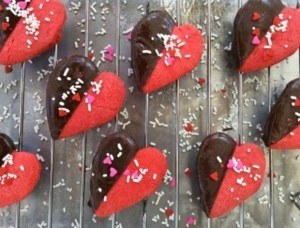 Heart Shaped Chocolate Dipped Cookies