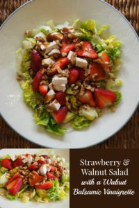 Strawberry and Walnut Salad with a Walnut Balsamic Vinaigrette - an easy, nutrient packed summer salad the whole family will love
