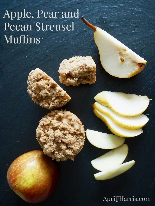 Moist, delicately spiced, Apple Pear and Pecan Streusel Muffins