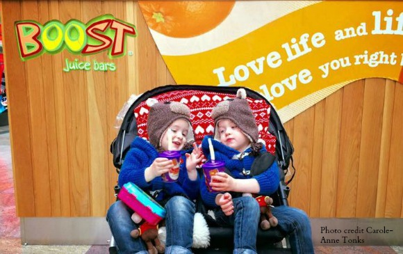 The Tonks Twins enjoying a smoothie at Boost Juice Bar