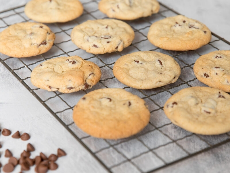 Old Fashioned Chocolate Chip Cookies on a cooling rack