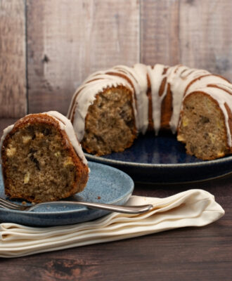 My easy warmly spiced Apple Pecan Cake with Maple Glaze is the perfect cake to have on hand for an everyday treat.