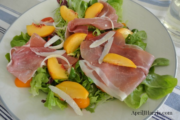 Peach Prosciutto and Parmesan Salad