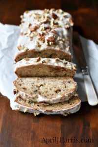 Spiced Banana Nut Loaf, a lightly spiced, deliciously moist banana nut loaf the whole family will love