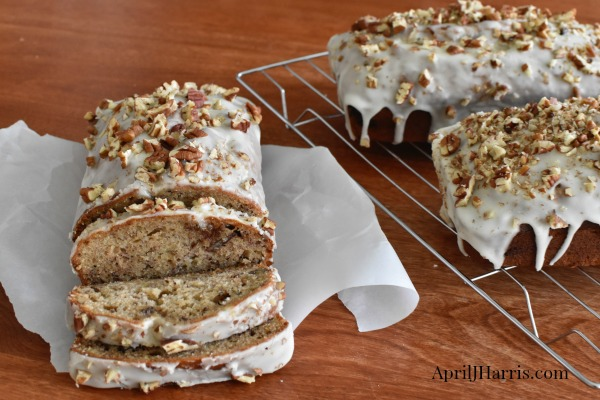 Spiced Banana Nut Loaf with Ginger Glaze