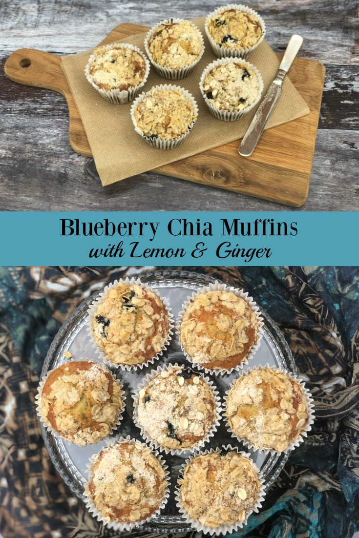 Streusel-topped, studded with fruit & delicately flavoured, Blueberry Chia Muffins with Lemon & Ginger are a wholesome treat the whole family will enjoy.