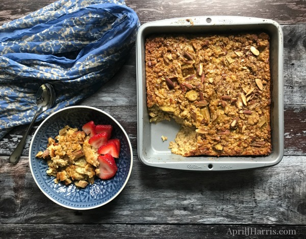 Baked Overnight Oatmeal with Rhubarb and Almonds