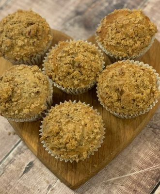 A perfect balance between naughty and nice, my Banana Streusel Muffins with Flaxseed recipe combines a lower sugar muffin with a sweet cinnamon streusel topping.