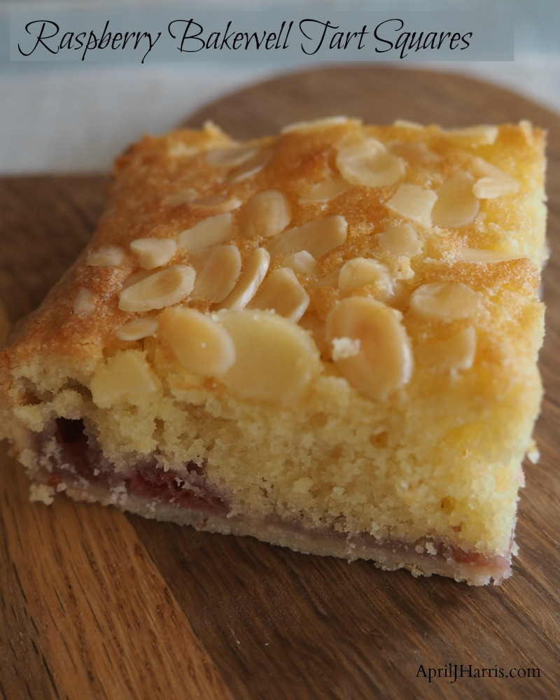 Raspberry Bakewell Tart Squares, an easy to make variation on a traditional British teatime treat