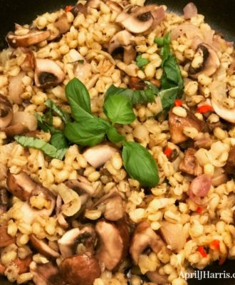 An easy to make, healthy alternative to rice, my Mushroom Orzotto recipe makes a delicious vegetarian main dish or side.