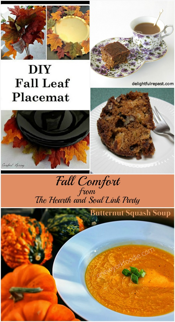 Fall Comfort features this week at The Hearth and Soul Link Party where we welcome posts about anything that feeds the soul