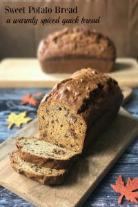 My Sweet Potato Bread recipe is redolent of cinnamon and ginger, a warmly spiced quick bread perfect for breakfast, lunchboxes, afternoon tea and snacks.