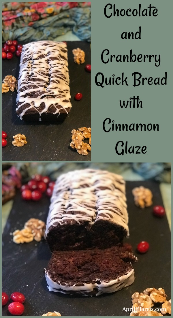 Chocolate and Cranberry Quick Bread with Cinnamon Glaze - a quick and easy holiday treat with a secret healthy ingredient