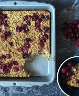 My warmly spiced Gluten Free Cranberry Orange Baked Oatmeal makes the perfect healthier holiday breakfast.