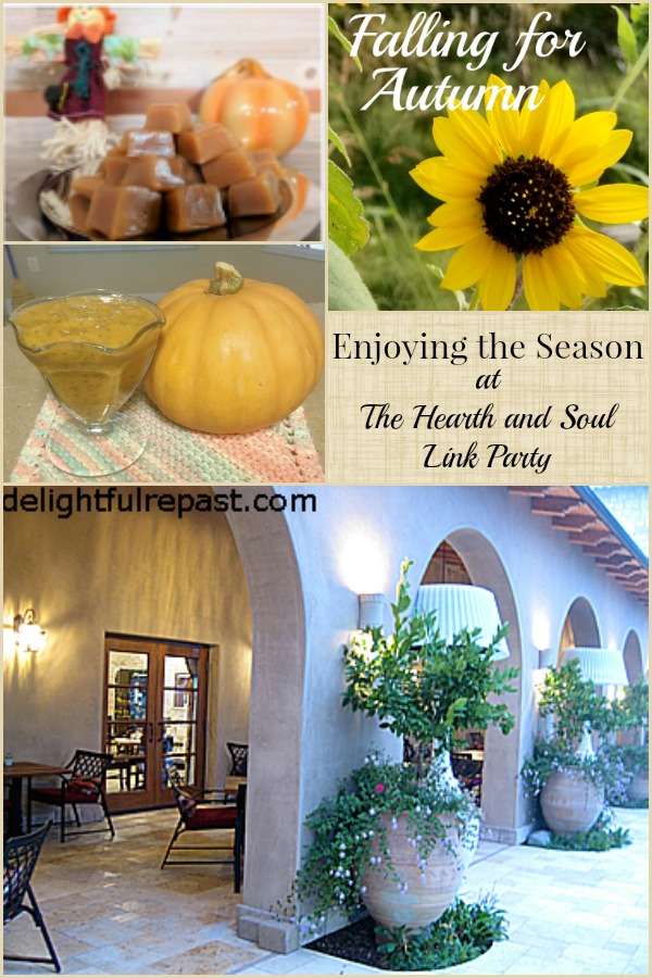 Enjoying the season at The Hearth and Soul Link Party where we welcome you to share blog posts about anything that feeds the soull