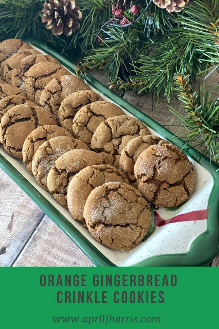 Orange Gingerbread Crinkle Cookies