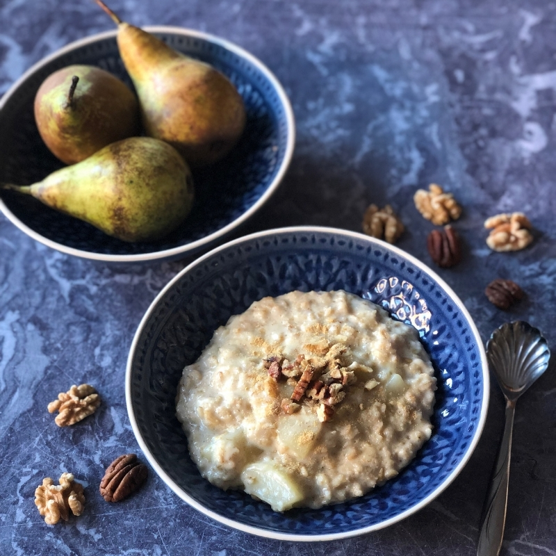 Pear Walnut and Ginger Oatmeal
