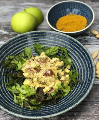 Coronation Chicken is a light and delicious summer salad, a vintage recipe gently spiced with curry powder and sweetened with fresh and dried fruit.