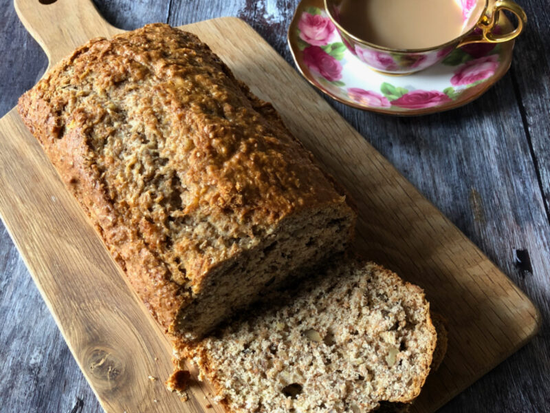 Don't miss this easy recipe for Old Fashioned Banana Nut Bread! Low in sugar and enriched with the goodness of bran, it is an easy, wholesome quick bread recipe that tastes great!