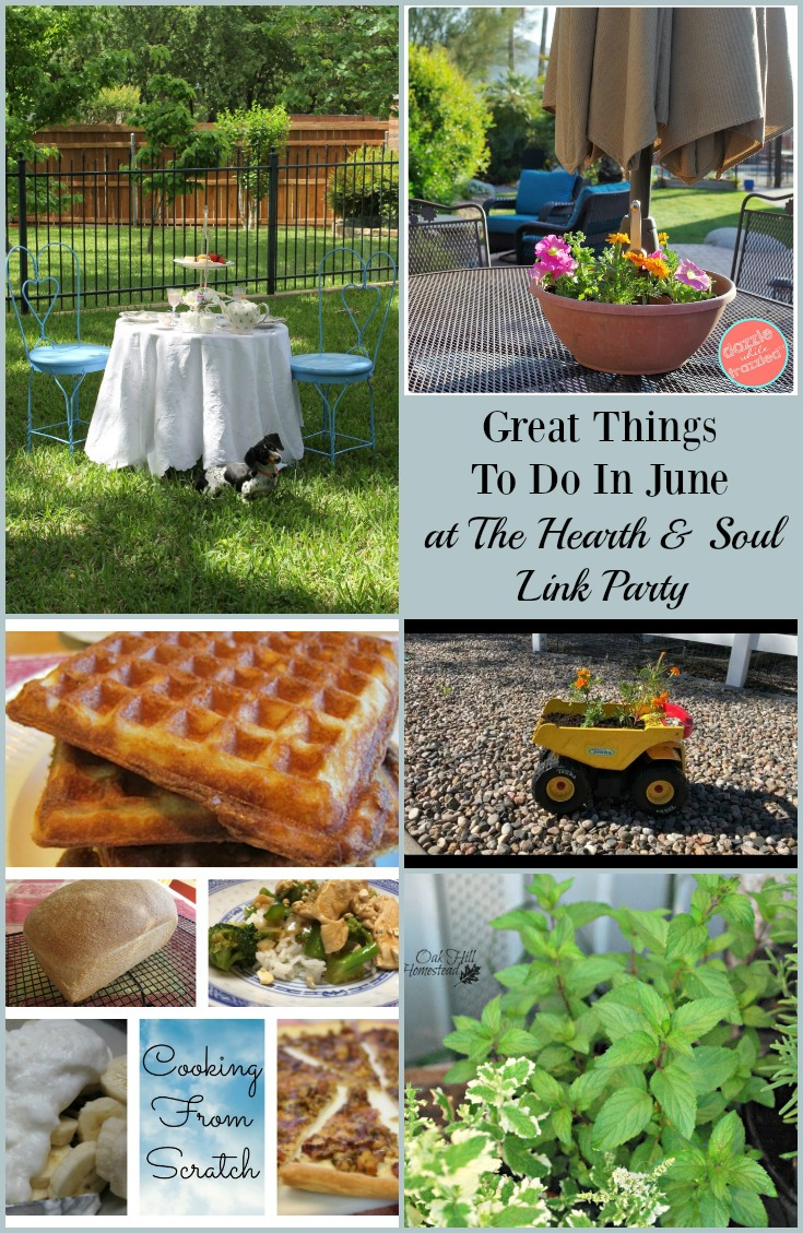 Ideas for Great Things To Do In June at The Hearth and Soul Link Party where we welcome blog posts about anything that feeds the soul