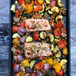 MyEasy One Pan Salmon and Mediterranean Vegetables is a deliciously spiced meal that is chock full of healthy ingredients and tastes great!