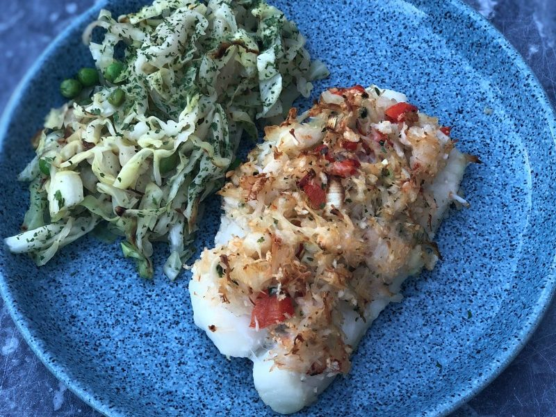 Spicy Crab Topped Cod Fillets